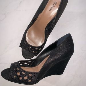 Style & Co black sparkly peep toe wedges